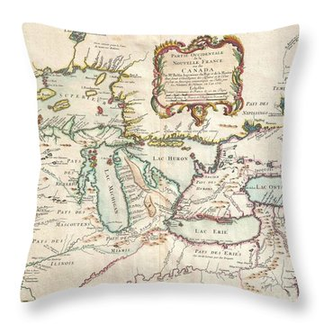1755 Bellin Map Of The Great Lakes Throw Pillow