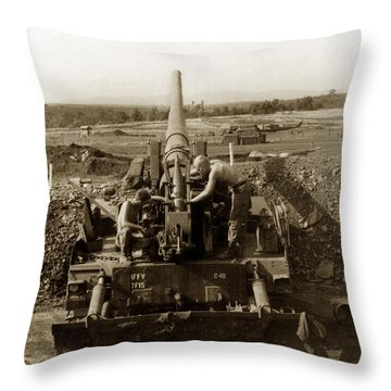 175mm Self Propelled Gun C 10 7-15th Field Artillery Vietnam 1968 Throw Pillow
