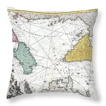 1762 Homann Heirs Map Of Sicily Sardenia Corsica And Malta Throw Pillow
