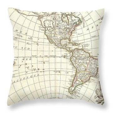 1762 Janvier Map Of North America And South America  Throw Pillow by Paul Fearn