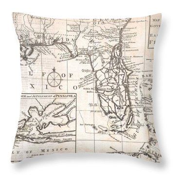 1763 Gibson Map Of East And West Florida Throw Pillow by Paul Fearn