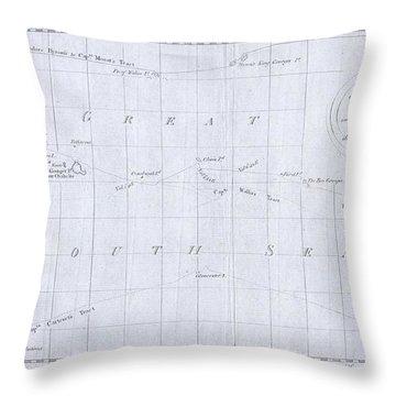 1780 Cook  Hogg Map Of Tahiti  Throw Pillow