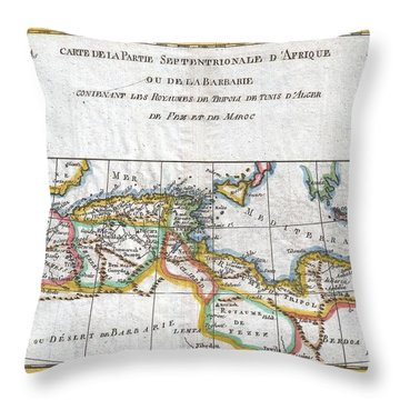 1780 Raynal And Bonne Map Of The Barbary Coast Of Northern Africa Throw Pillow