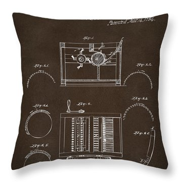 Throw Pillow featuring the drawing 1794 Eli Whitney Cotton Gin Patent Espresso by Nikki Marie Smith