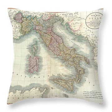 1799 Cary Map Of Italy Throw Pillow