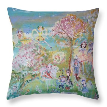 18 Fairy Party In Fairyland Throw Pillow by Judith Desrosiers