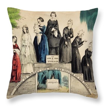 1800s 1850s Currier & Ives Illustration Throw Pillow
