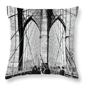 1800s 1880s Men Standing On Brooklyn Throw Pillow