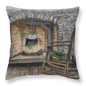 1800s Cozy Cooking .... Fire Place Throw Pillow by Kelly Mills