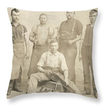 1800's Vintage Photo Of Blacksmiths Throw Pillow