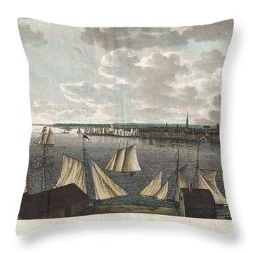 1824 Klinkowstrom View Of New York City From Brooklyn  Throw Pillow by Paul Fearn