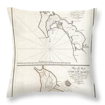 1825 Victoria Map Of San Diego California And San Blas Mexico  Throw Pillow by Paul Fearn