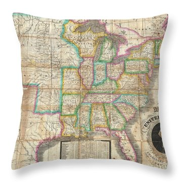 1835 Webster Map Of The United States Throw Pillow by Paul Fearn