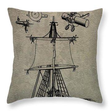 1836 Sailboat Patent Throw Pillow