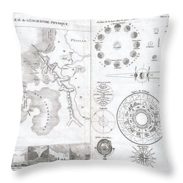 1838 Monin Map Or Physical Tableau And Astronomy Chart  Throw Pillow by Paul Fearn