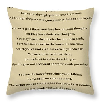 184- Kahlil Gibran - On Children Throw Pillow by Joseph Keane
