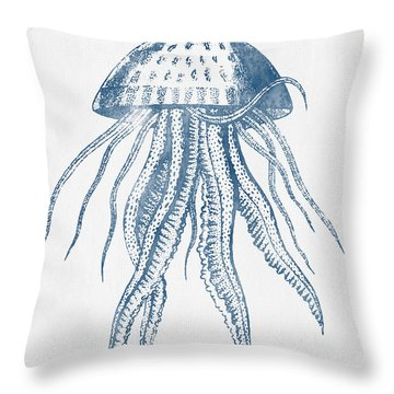 1844 Octopus Ink Drawing Throw Pillow by Aged Pixel