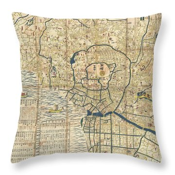 1849 Japanese Map Of Edo Or Tokyo Throw Pillow