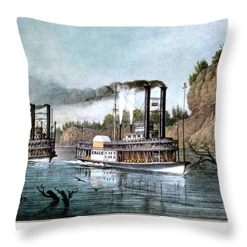 1850s A Race On The Mississippi - Throw Pillow