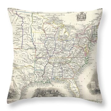 1851 Tallis And Rapkin Map Of The United States Throw Pillow by Paul Fearn