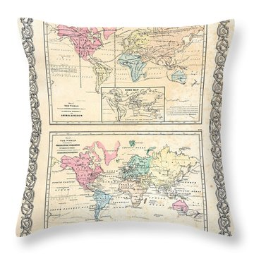 1855 Antique First Plate Ortelius World Map Animal Kingdom World Commerce And Navigation Throw Pillow by Karon Melillo DeVega