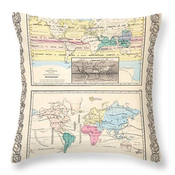 1855 Antique World Maps Illustrating Principal Features Of Meteorology Rain And Principal Plants Throw Pillow by Karon Melillo DeVega