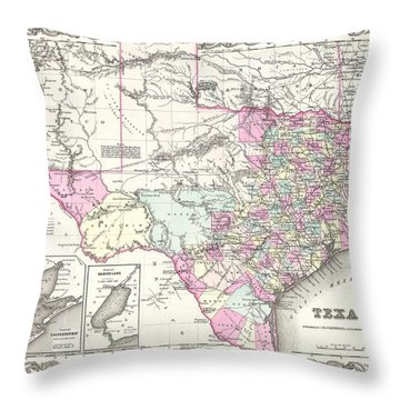 1855 Colton Map Of Texas Throw Pillow