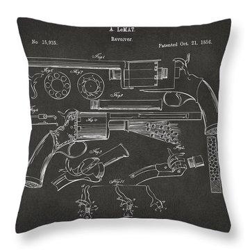 1856 Lemat Revolver Patent Artwork - Gray Throw Pillow