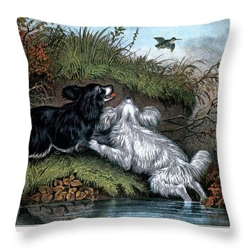 1860s Two Spaniel Dogs Flushing Throw Pillow
