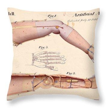 1865 Artificial Limbs Patent Drawing Throw Pillow