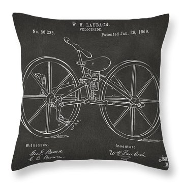 1869 Velocipede Bicycle Patent Artwork - Gray Throw Pillow