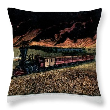1870s Prairie Fires Of The Great West - Throw Pillow