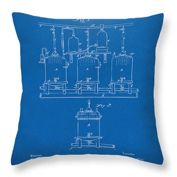 Throw Pillow featuring the digital art 1873 Brewing Beer And Ale Patent Artwork - Blueprint by Nikki Marie Smith