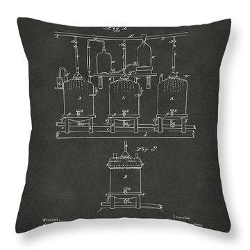 Throw Pillow featuring the digital art 1873 Brewing Beer And Ale Patent Artwork - Gray by Nikki Marie Smith