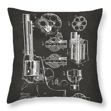 1875 Colt Peacemaker Revolver Patent Artwork - Gray Throw Pillow