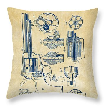 Throw Pillow featuring the digital art 1875 Colt Peacemaker Revolver Patent Vintage by Nikki Marie Smith