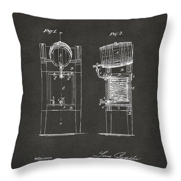 Throw Pillow featuring the digital art 1876 Beer Keg Cooler Patent Artwork - Gray by Nikki Marie Smith