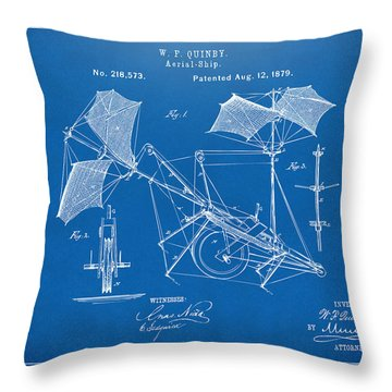 1879 Quinby Aerial Ship Patent - Blueprint Throw Pillow by Nikki Marie Smith
