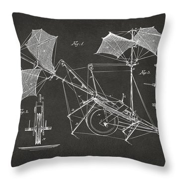 1879 Quinby Aerial Ship Patent Minimal - Gray Throw Pillow by Nikki Marie Smith