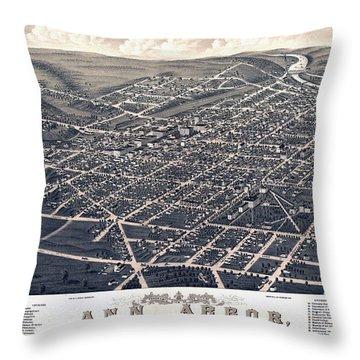 1880 Birds Eye Map Of Ann Arbor Throw Pillow