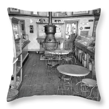 1880 Drug Store Black And White Throw Pillow by Ken Smith