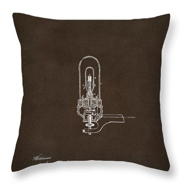 Throw Pillow featuring the drawing 1880 Edison Electric Lights Patent Artwork Espresso by Nikki Marie Smith