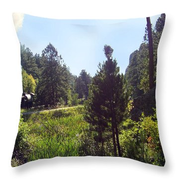 1880 Train Traveling Through The Black Hills Throw Pillow