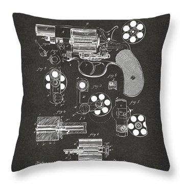 1881 Colt Revolving Fire Arm Patent Artwork - Gray Throw Pillow