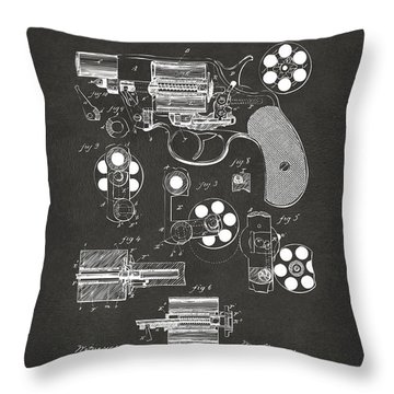 Throw Pillow featuring the digital art 1881 Colt Revolving Fire Arm Patent Artwork - Gray by Nikki Marie Smith