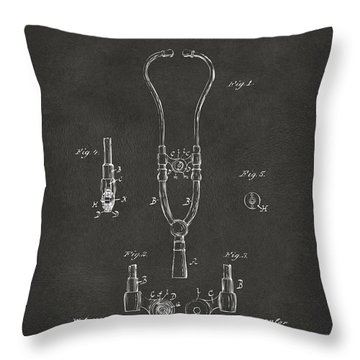 1882 Doctor Stethoscope Patent - Gray Throw Pillow