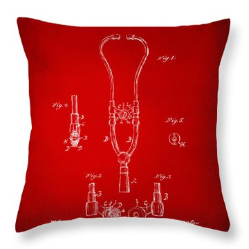 1882 Doctor Stethoscope Patent - Red Throw Pillow