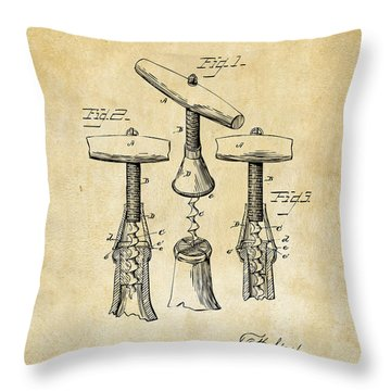 1883 Wine Corckscrew Patent Art - Vintage Black Throw Pillow by Nikki Marie Smith