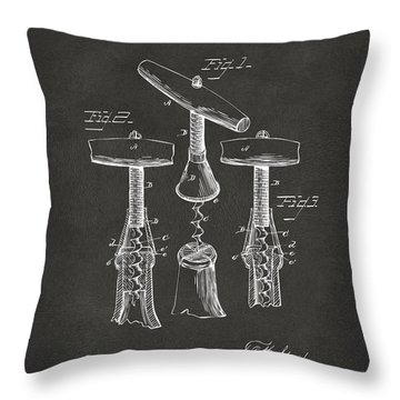 Throw Pillow featuring the digital art 1883 Wine Corckscrew Patent Artwork - Gray by Nikki Marie Smith
