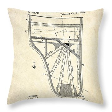1885 Steinway Piano Frame Patent Art Throw Pillow